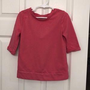 Pink sweatshirt-y tunic with open bow back